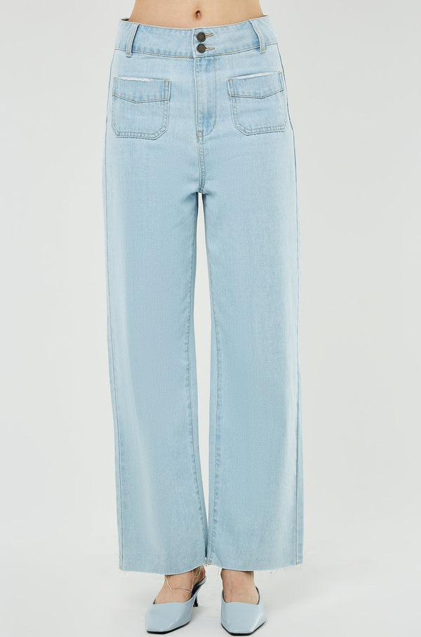 High-Waist Double Front Pocket Raw-Hem Jeans