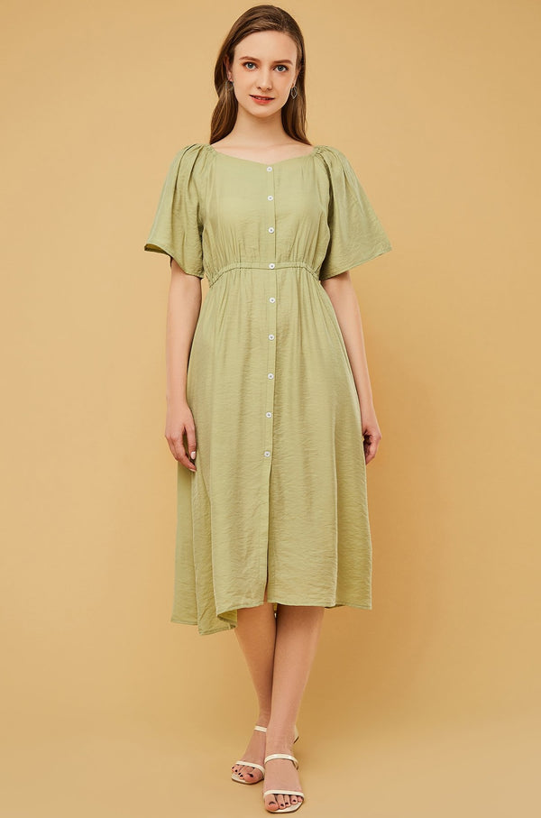 Wide-Neck Button-Front Cinched Waist Dress