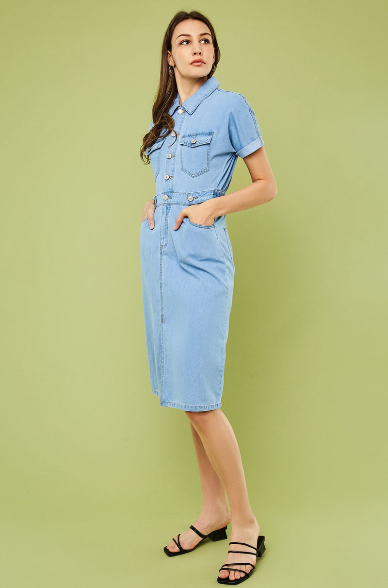 Cut-Out Back Denim Shirt Dress
