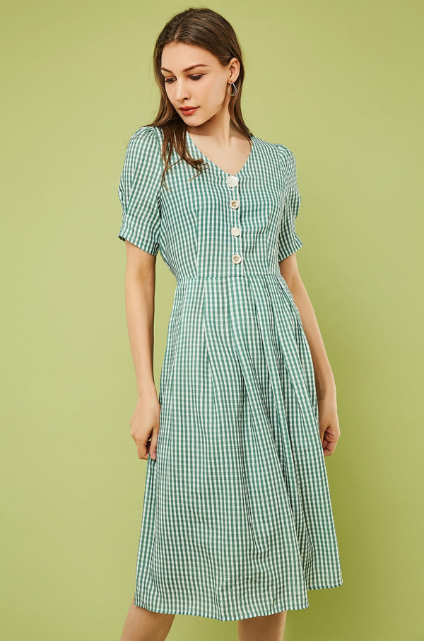 Plaid Button-Front Tie Waist Midi Dress