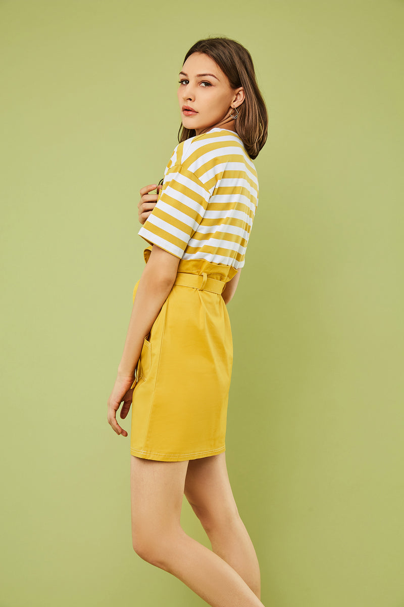 2 In 1 Contrast Stripe Tee & Tie-Waist Dress