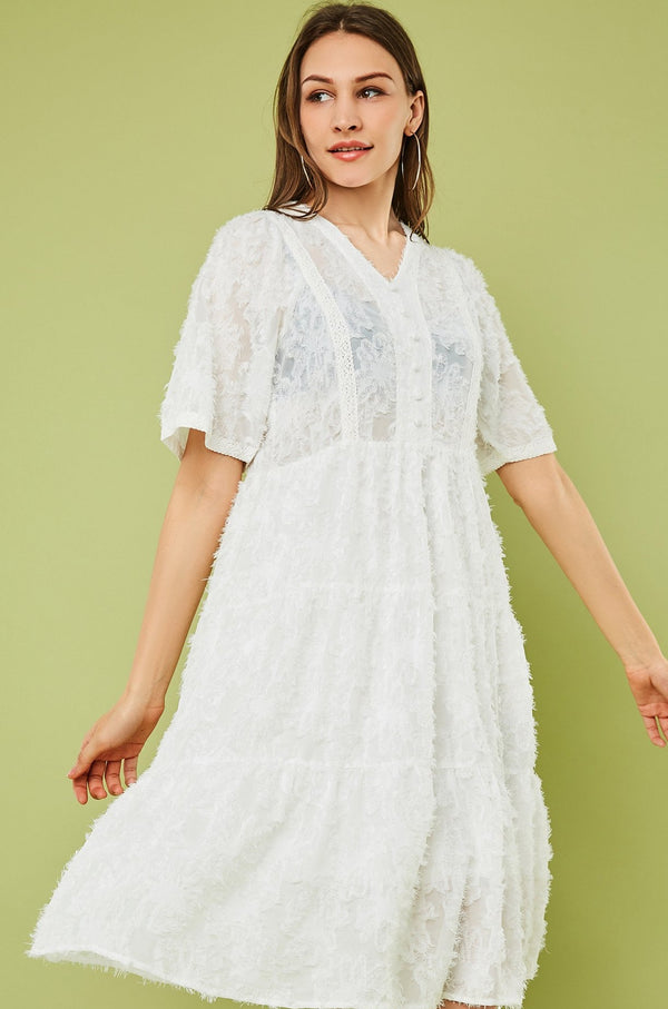 V-Neck Feather Lace Midi Flare Dress