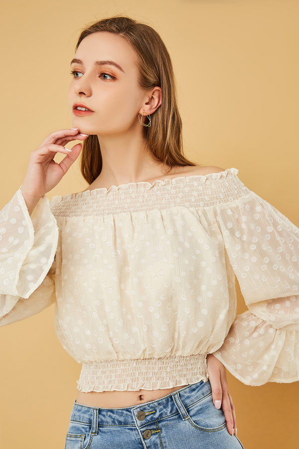 Off-Shoulder Dotted Chiffon Blouse
