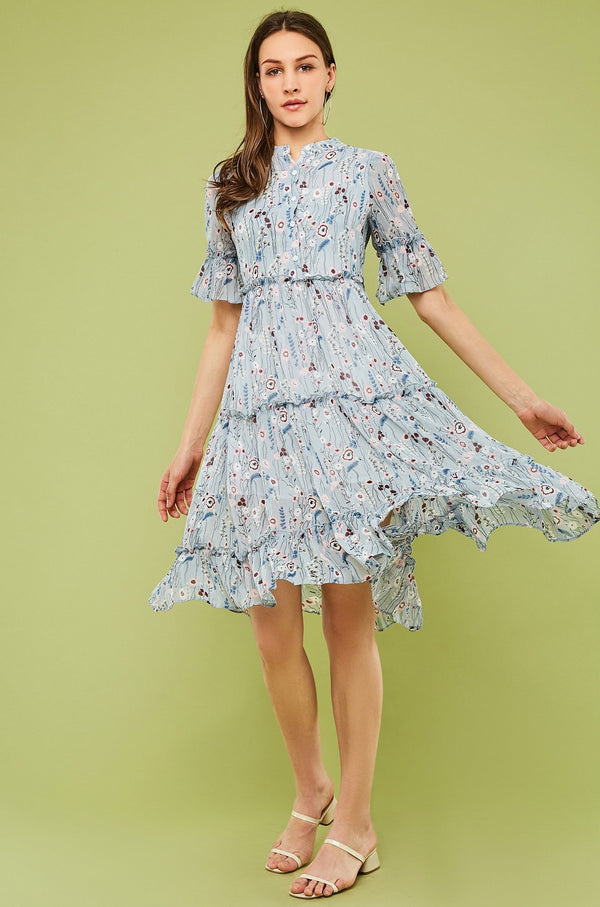 Floral Chiffon Button-Front Tie-Waist Flare Dress