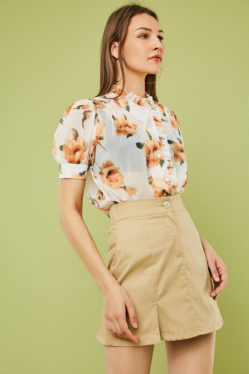 Floral Ruffle Edge Button-Front Blouse