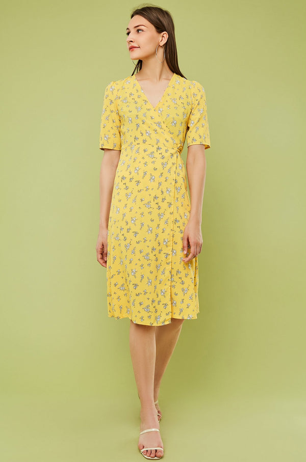Floral Short-Sleeve Midi Wrap Dress