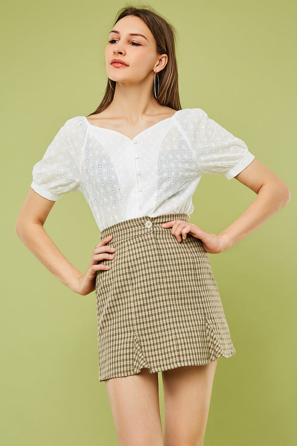 Front Kick-Pleat Mini A-Line Skirt