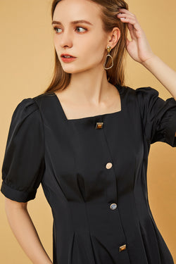 Square Neck Button-Front Bubble Sleeve Dress