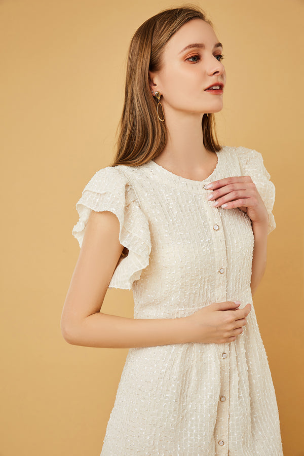 Flutter Sleeve High-Waist Button-Front Dress