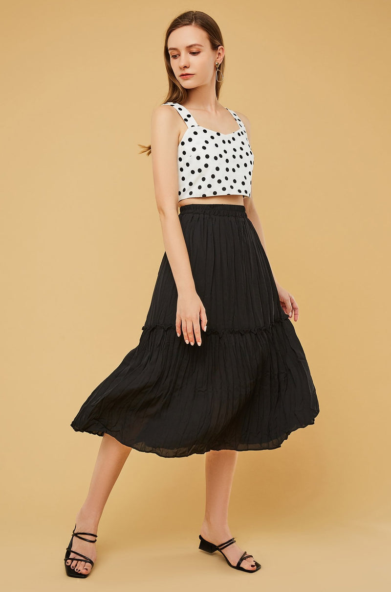 High-Waist Midi Pleated Skirt