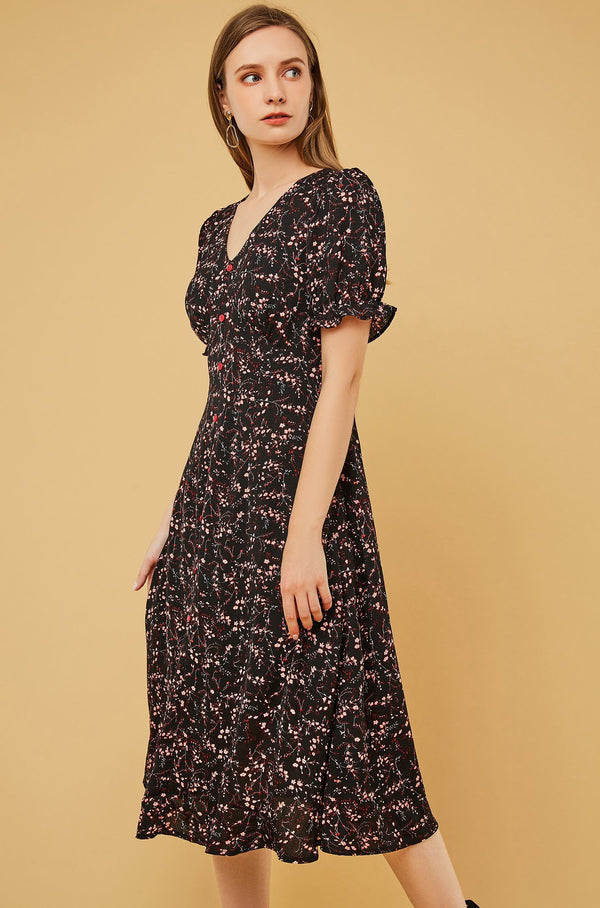 Floral V-Neck Button-Front Dress