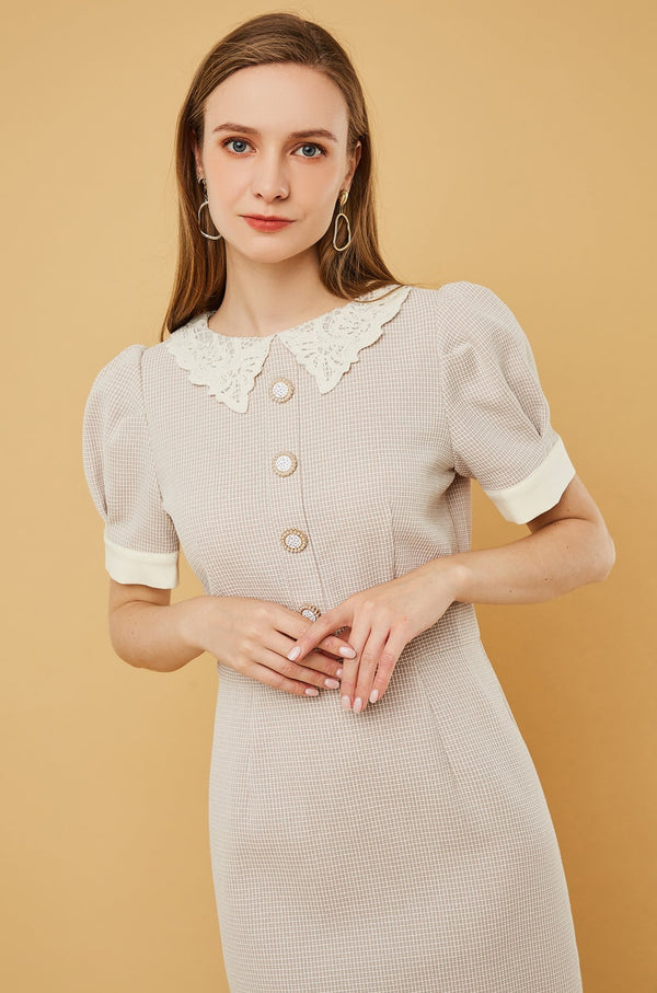 Plaid Lace Collar Button Trimmed Dress