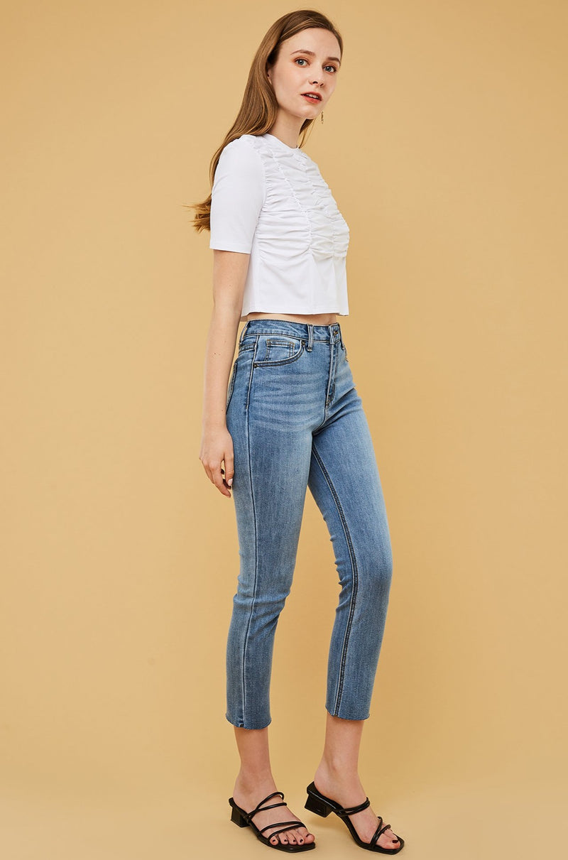 High-Waist Straight Leg Skinny Jeans