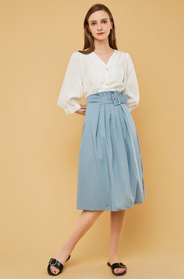 Asymmetrical Belt Pleated Midi Skirt