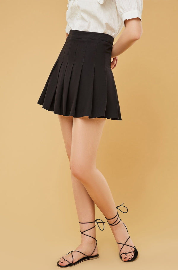 High-Waist Pleated Mini Skirt