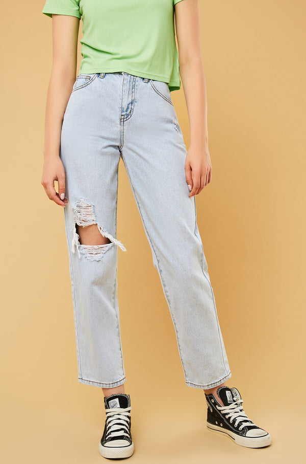 Straight-Leg Ripped Boyfriend Jeans