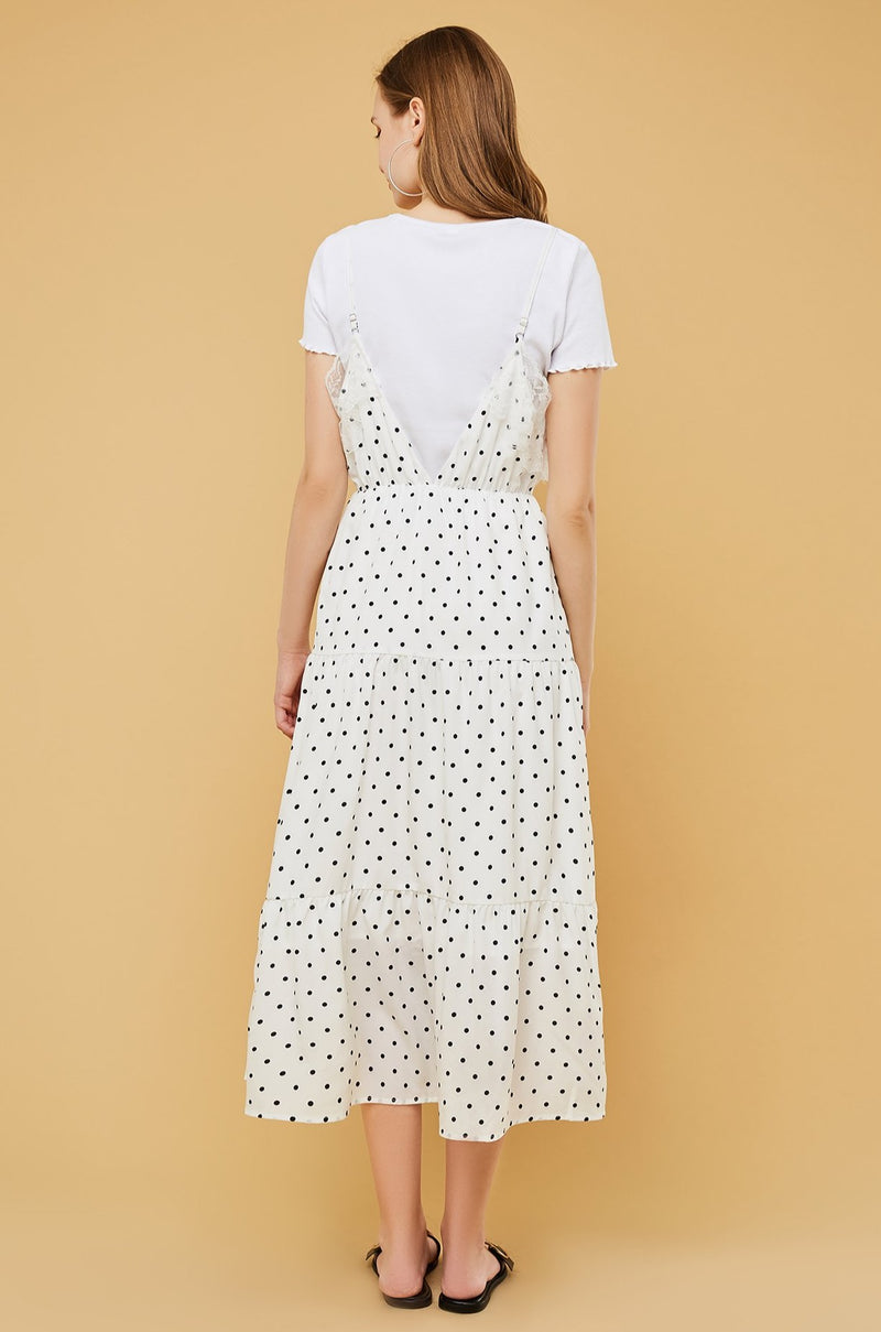 Polka-Dot Lace-Edge Tiered Cami Dress