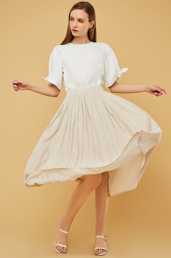 Elastic Waistband Pleated Flare Skirt