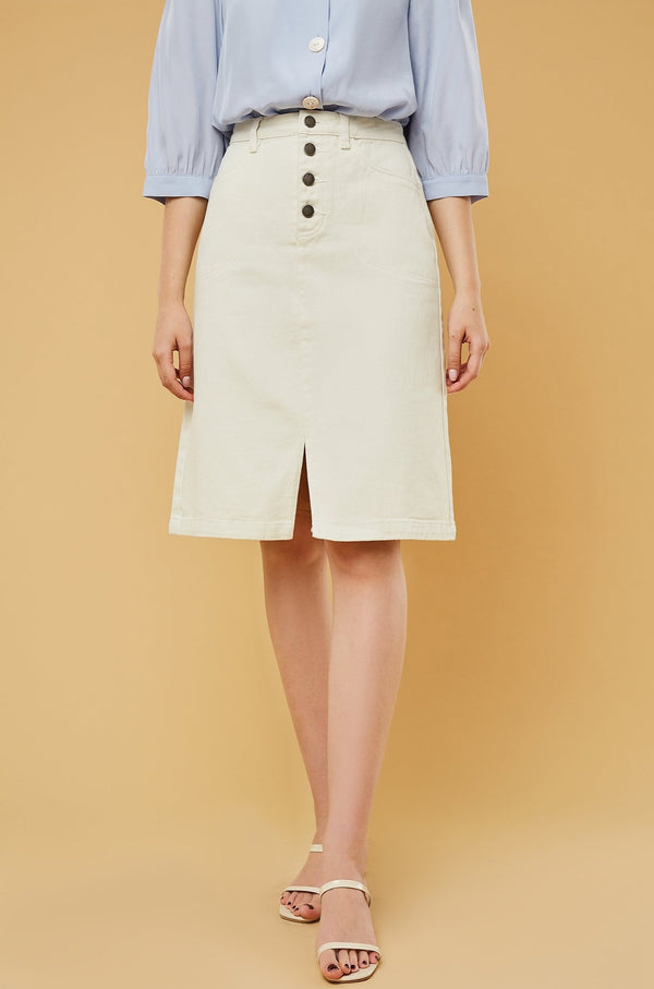 High-Waist Button-Fly A-Line Denim Skirt