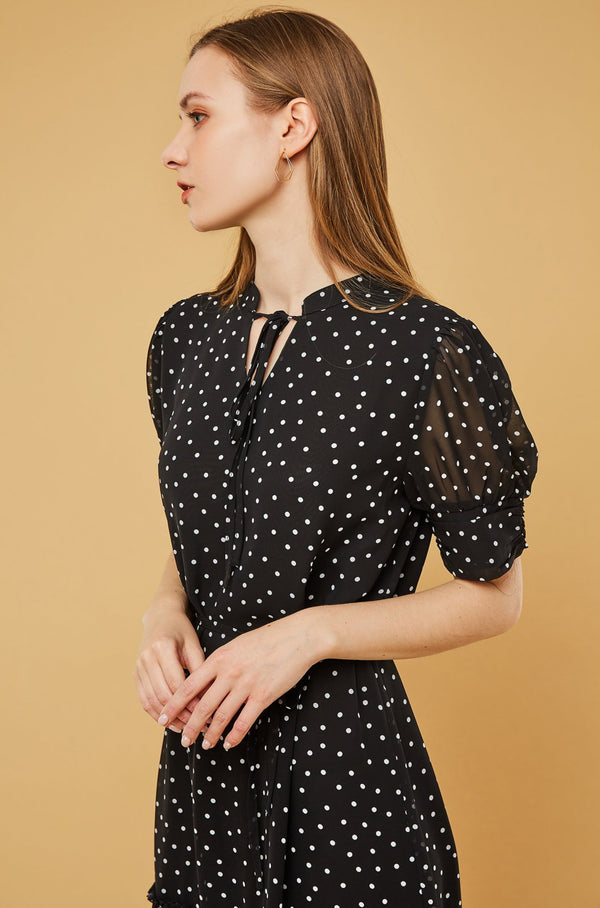 Polka Dot Pleated Peplum Chiffon Dress