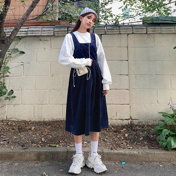Retro Corduroy Overall Dress