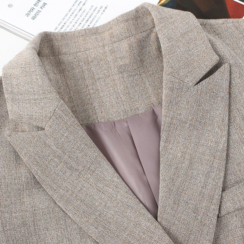 Grid Check Peak Lapel Double-Breasted Blazer