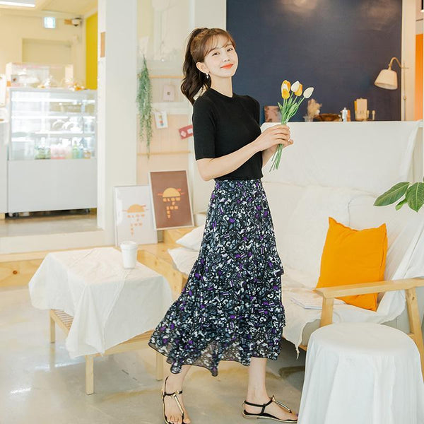 Ruffle Floral Longline Layered Skirt
