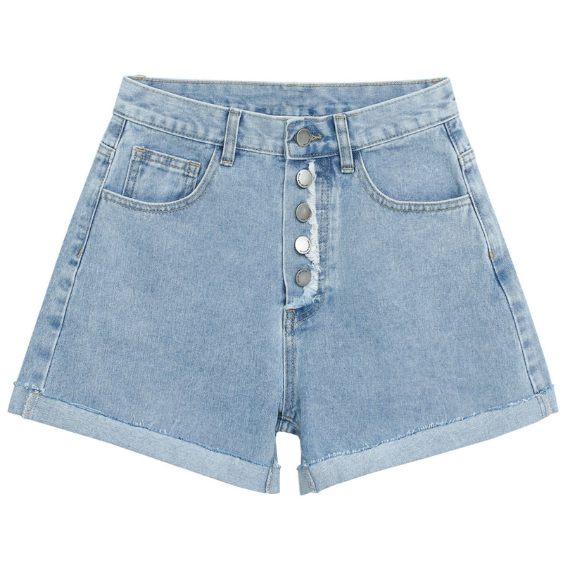 High-Waist Raw Edge Button-Fly Denim Shorts
