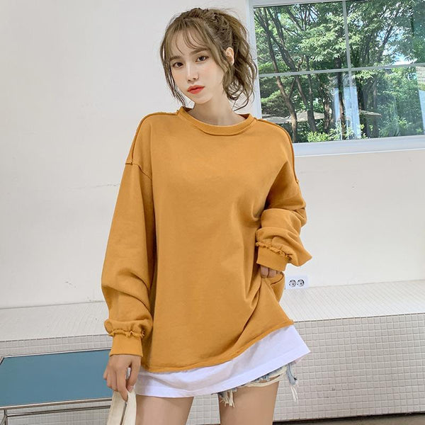 Dual Layer Contrast Stitching Sweatshirt