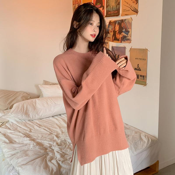 Split Hem Pullover Knit Sweater
