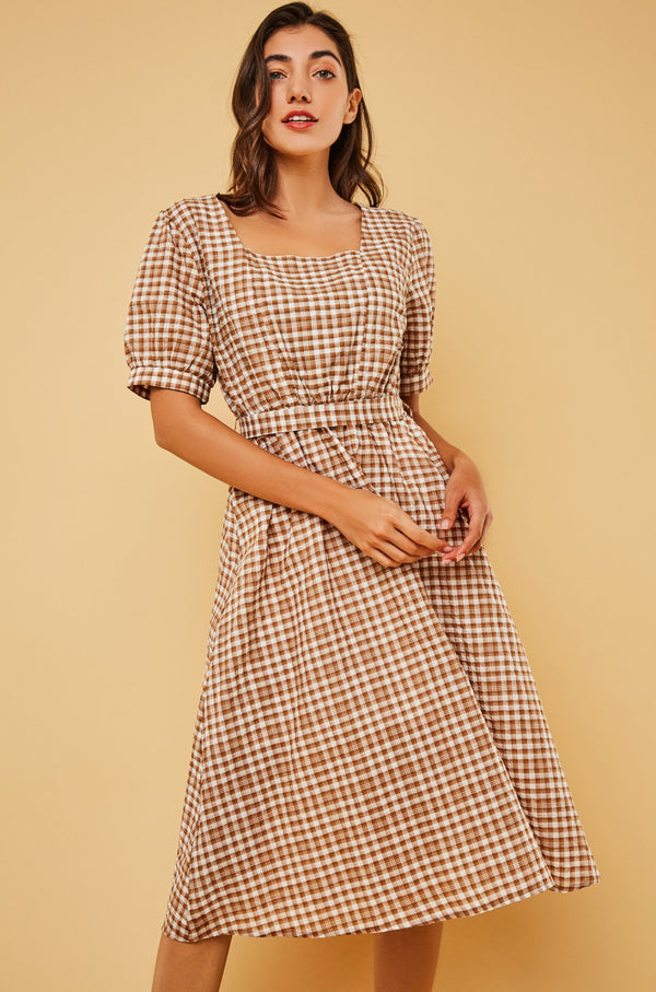 Plaid Square-Neck Waist-Tie Midi Dress