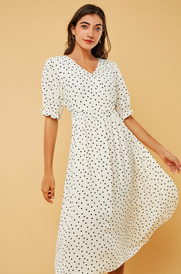 Polka-Dot V-Neck Chiffon Midi Dress