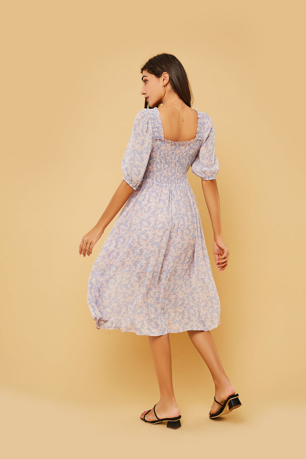 Floral Puff-Sleeve Smocked Bodice Dress