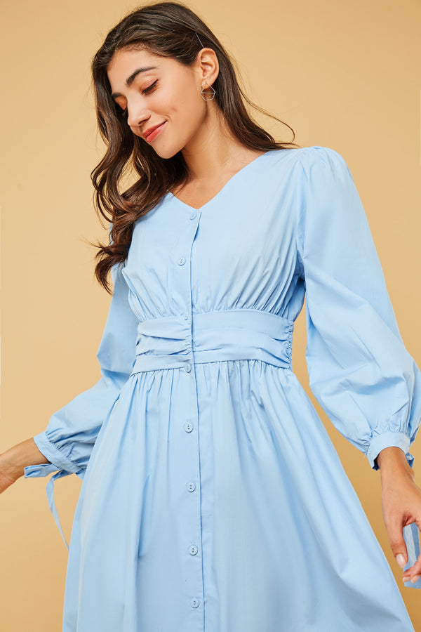 V-Neck Puff Sleeve Button-Down Midi Dress