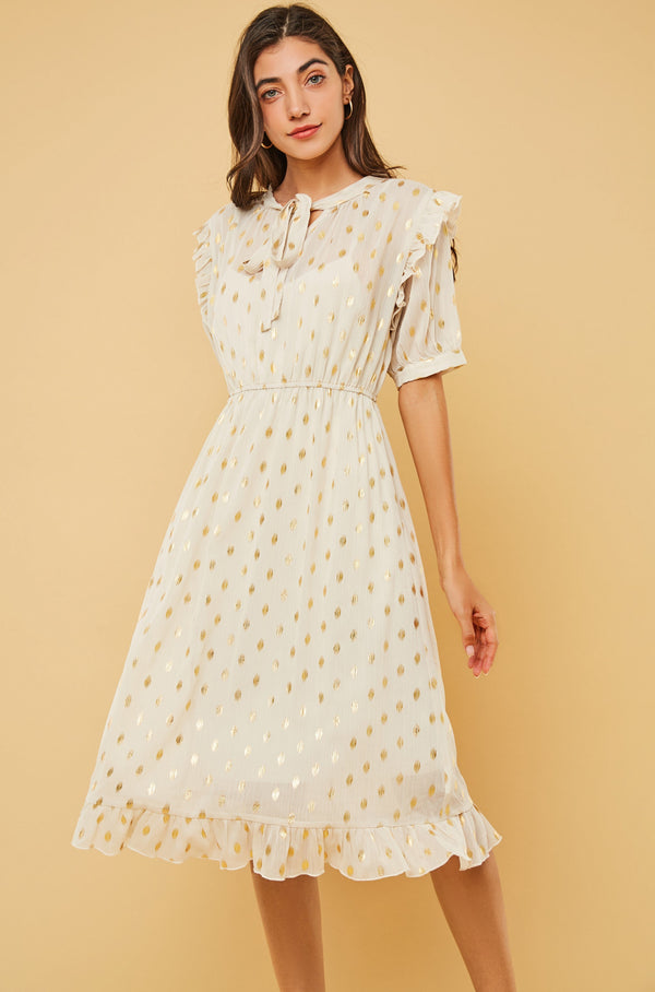 Gold Polka-Dot Tie-Neck Ruffled Chiffon Dress