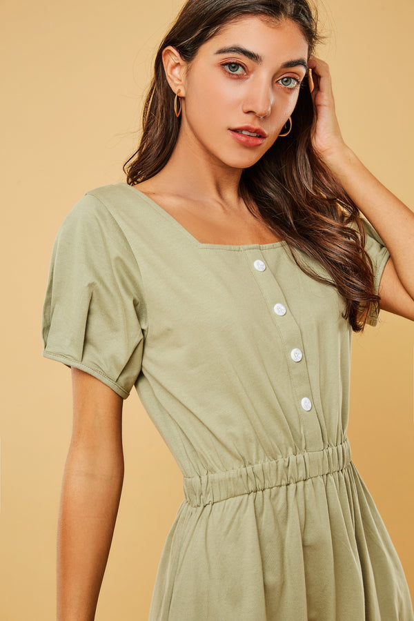 Square-Neck Button-Front Cinch-Waist Dress