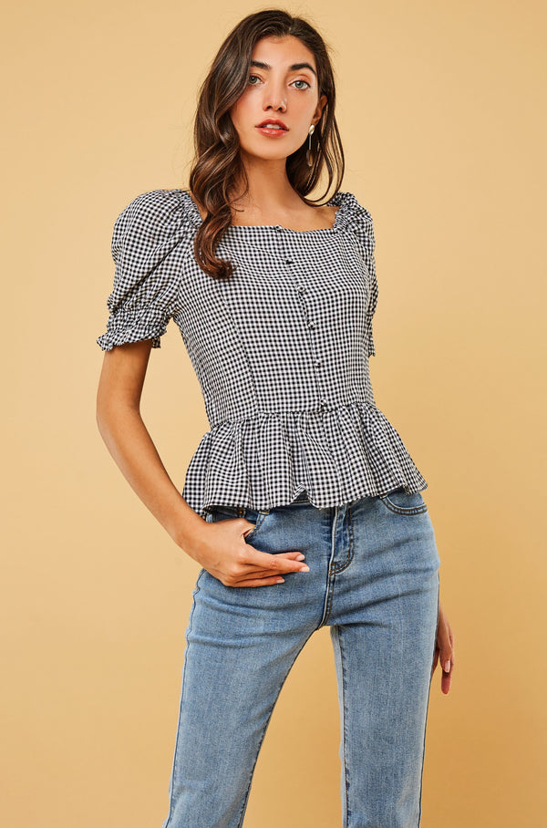 Puff-Sleeve Square-Neck Blouse