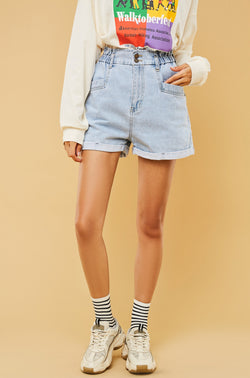 High-Waist Belted Jean Shorts