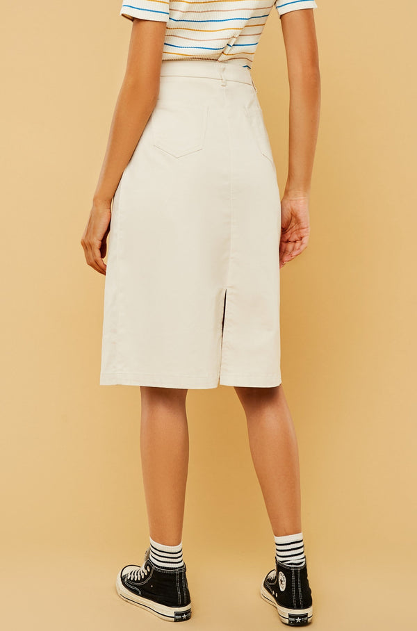 Button-Front A-Line Midi Skirt