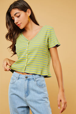 Short-Sleeve V-Neck Button-Front Stripe Knit Top