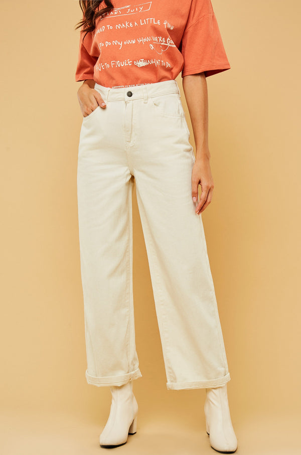 Casual High-Waist Straight-Leg Jeans