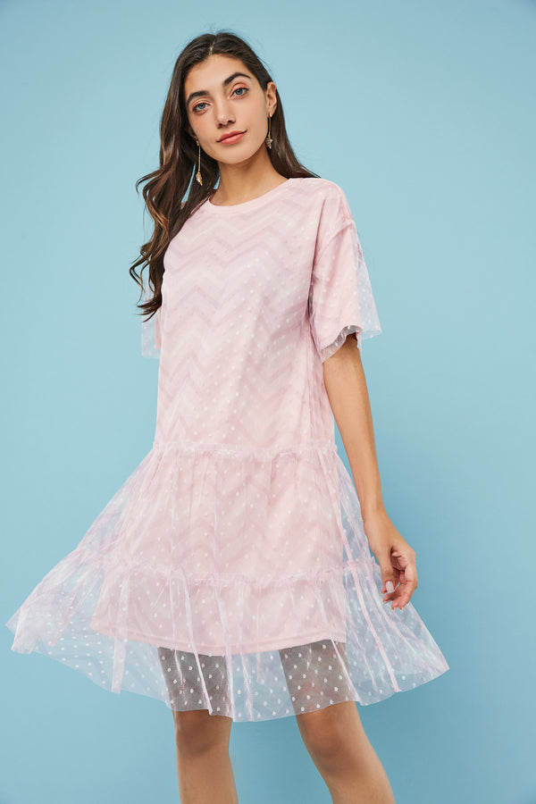 Ruffle Detail Mesh Overlay Midi Dress
