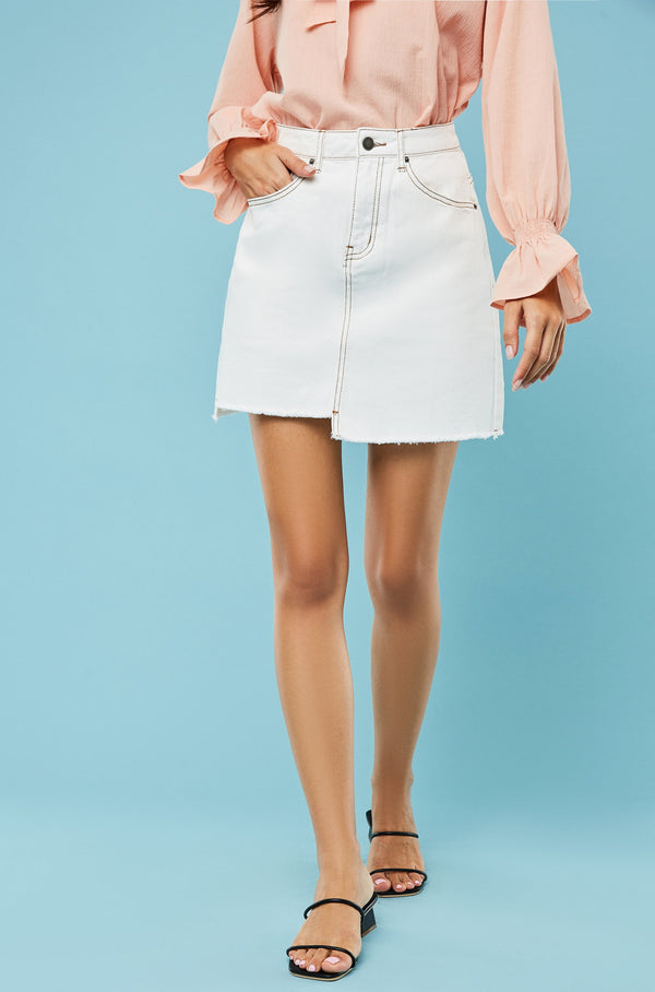Asymmetrical Raw Hem Denim Mini Skirt
