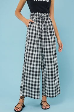 Plaid Paper-Bag Waist Wide-Leg Pants