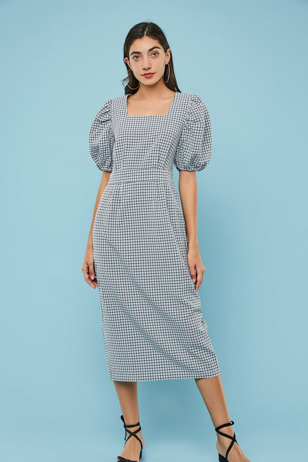 Plaid Square-Neck Bubble-Sleeve Dress
