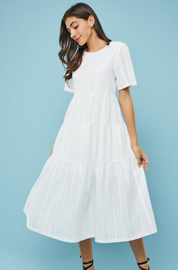 Short-Sleeve Tiered Flare Dress