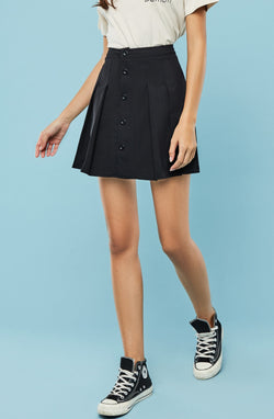 Button-Front Pleated Mini Skirt