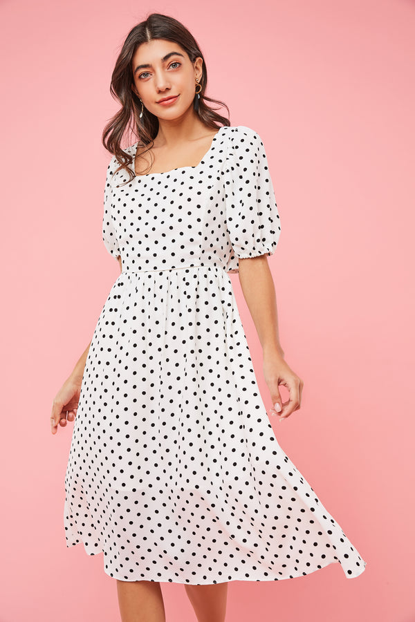 Polka-Dot Ruched Cut-Out Midi Dress