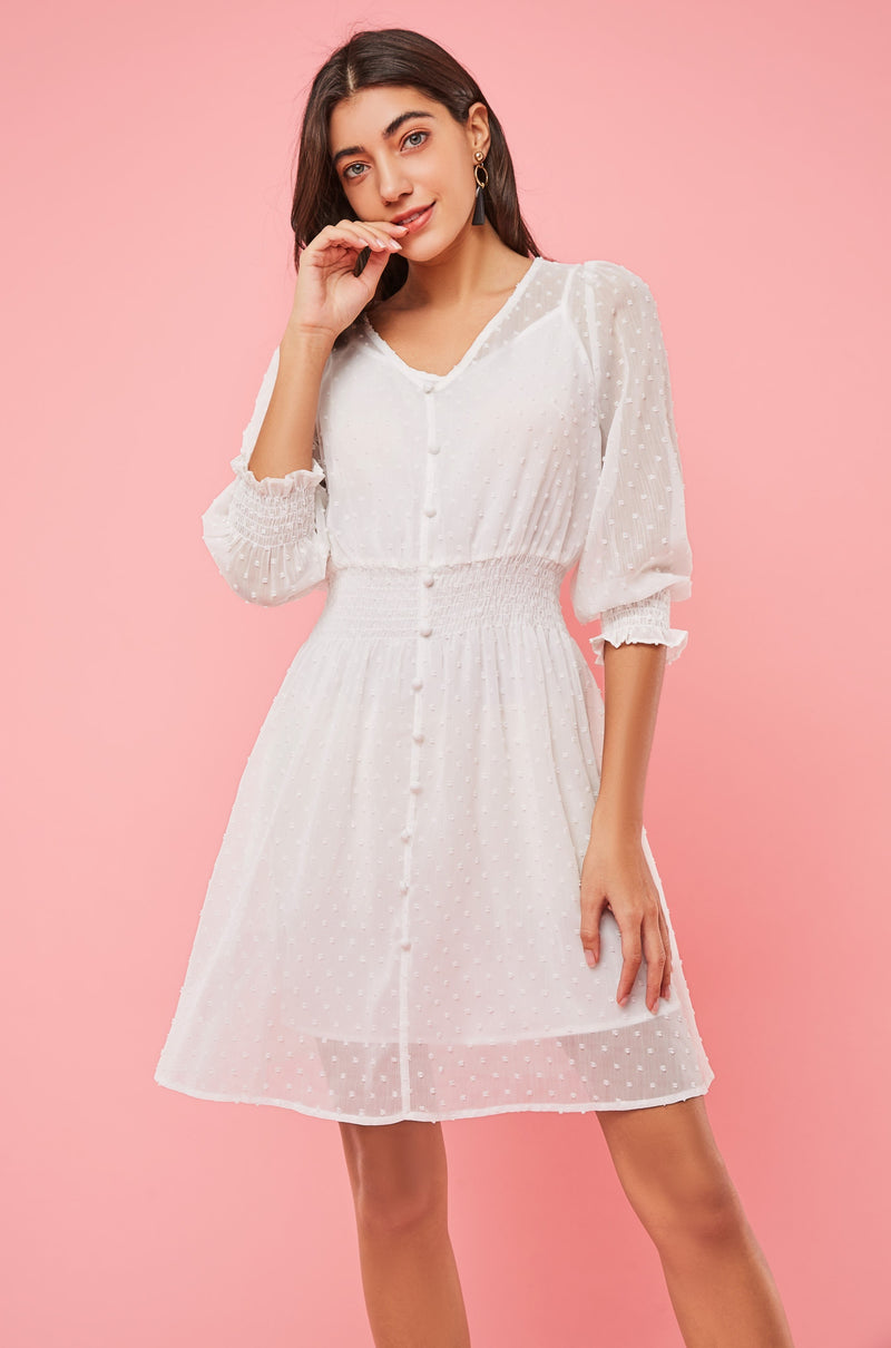 Button Front Mini Dress