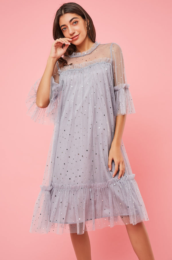 Star Glitter Ruffled Mesh Dress